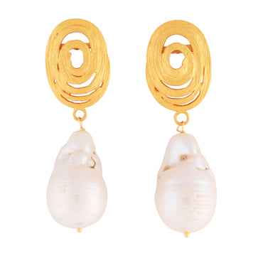 Gold swirl and baroque pearl earrings