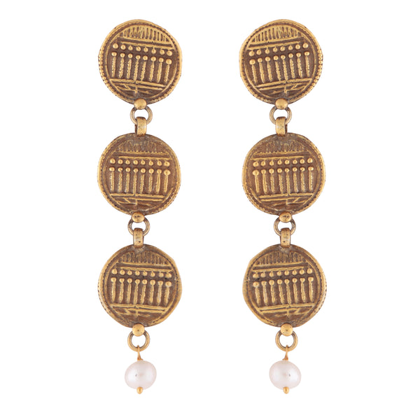 Antique style intricate layered coin earrings