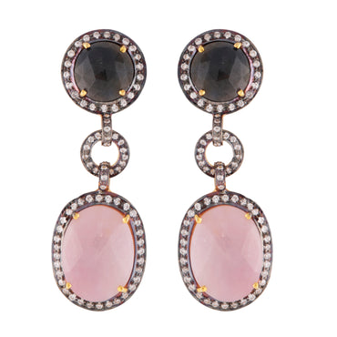 Pink and blue sapphire heirloom earrings