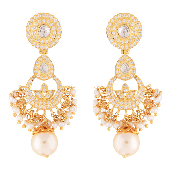 Delicate pearl and crystal statement earrings