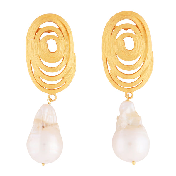 Statement Gold swirl and baroque pearl earrings