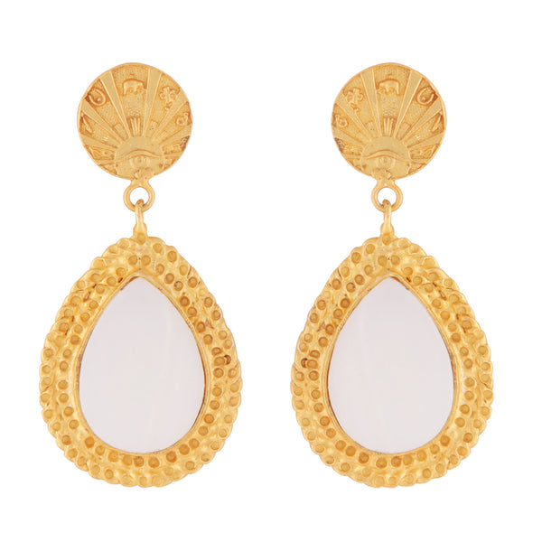 Good luck coin and mother of pearl earrings