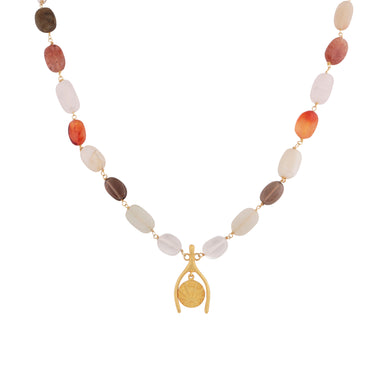 Golden lucky coin short gemstone necklace