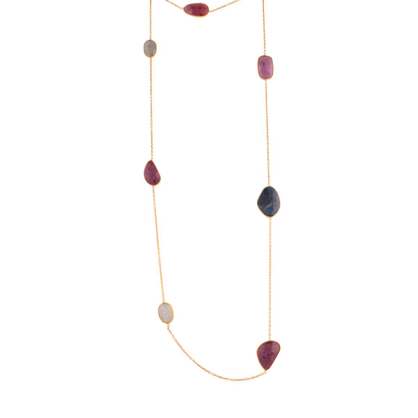 Mismatch multi coloured sapphires necklace