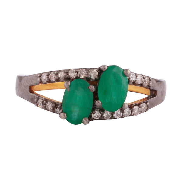 Double emerald and diamond ring