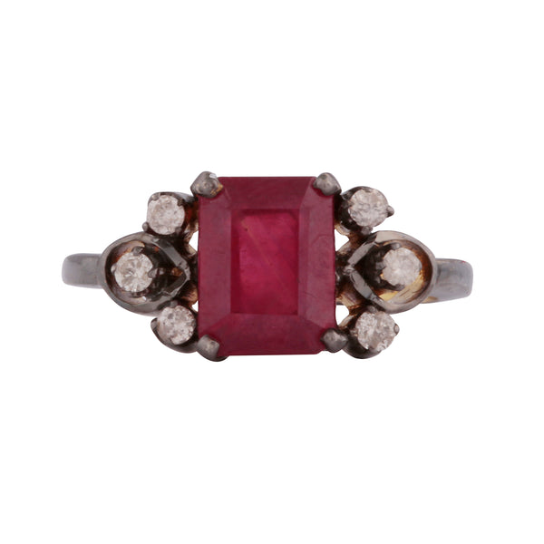 Ruby and diamond statement deco ring