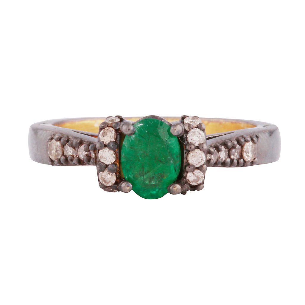 Emerald and diamond delicate ring