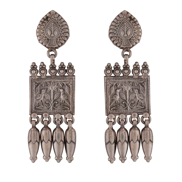 Antique style intricate silver statement earrings