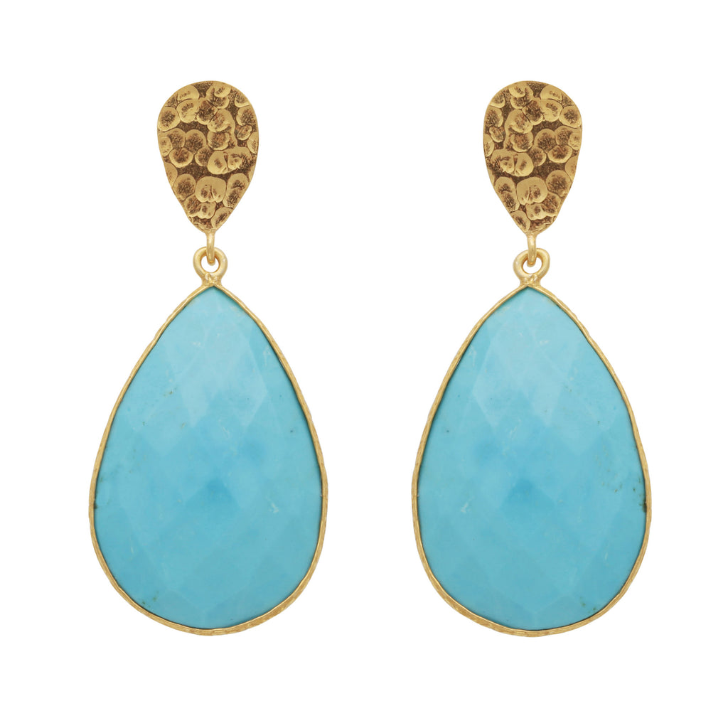 Double drop turquoise and golden nugget earrings