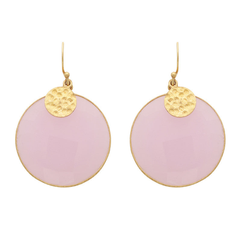 Rose quartz disc earrings