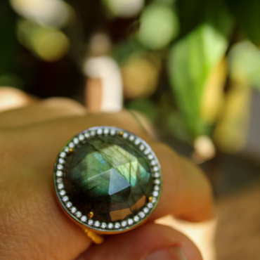 Gold labradorite and crystal cocktail ring