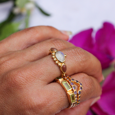 Gold vermeil multi amethyst stacking ring