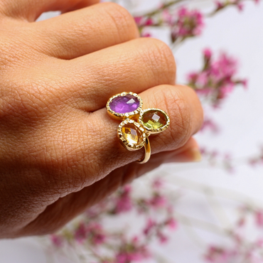 Gold vermeil intricate amethyst, citrine and peridot cocktail ring