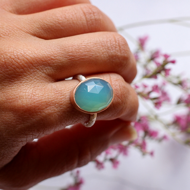 Blue chalcedony 925 sterling silver cocktail ring