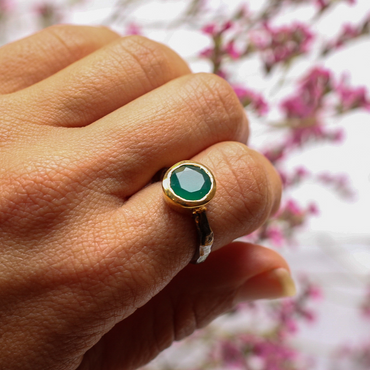Green onyx gold and silver mix ring