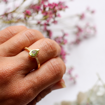Gold vermeil pear shaped peridot and crystal stacking ring
