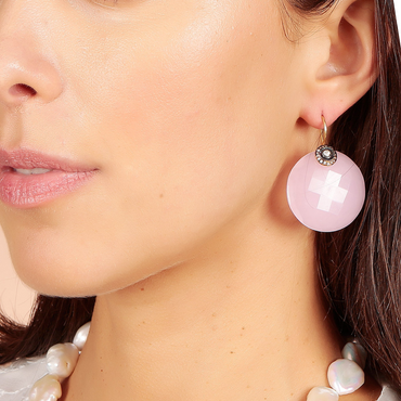 Rose quartz ellipse and antique crystal earrings
