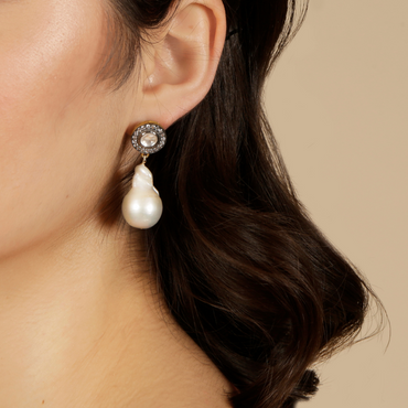 Crystal and baroque pearl drop earrings