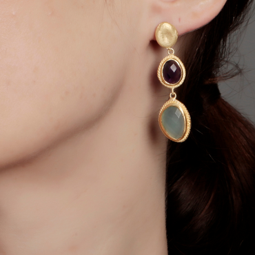 Golden nugget with aqua chalcedony and amethyst earrings