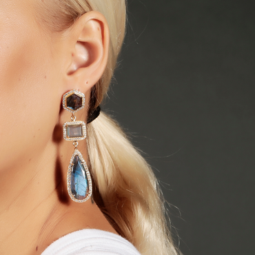 Twilight statement earrings with labradorite and crystals