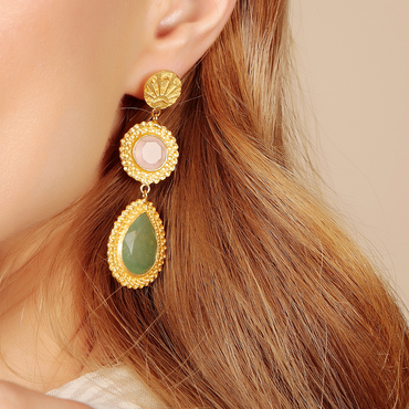 Golden lucky coin, rose quartz and aventurine earrings