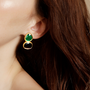 Green and black onyx drop earrings