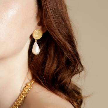 Antique coin and pearl gold earrings
