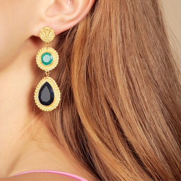 Good luck coin, turquoise and lapis gold earrings