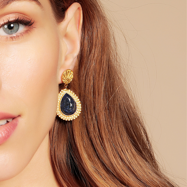 Golden lucky coin and lapis earrings
