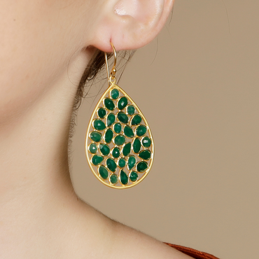 Sliced green onyx gold drop earrings