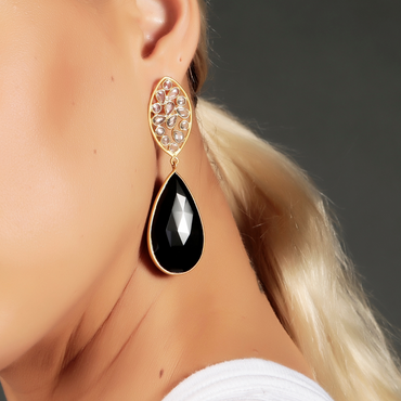 Crystal and black onyx drop earrings