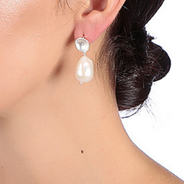 Silver nugget and pearl earrings