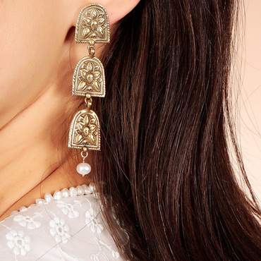 Antique style intricate layered trophy earrings