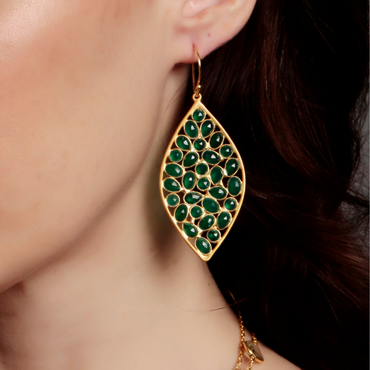 Sliced green onyx gold statement earrings