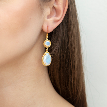 Regal small drop opal earrings