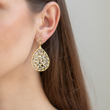 Golden teardrop sliced crystal earrings