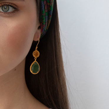 Regal aventurine small drop gold earrings
