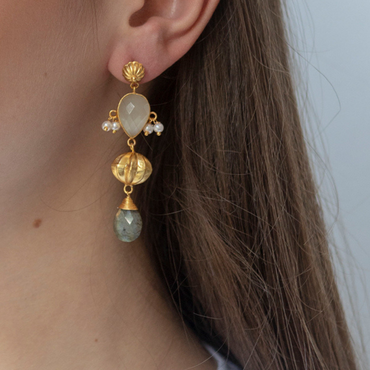 Labradorite and moonstone gold sphere earrings