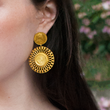 Matte antique coin earrings