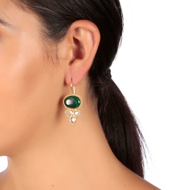 Malachite and crystal drop earrings