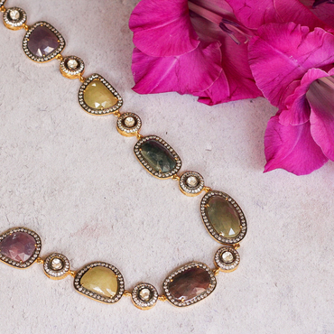 Heirloom multi coloured sapphires necklace