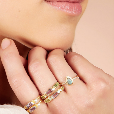 Gold vermeil labradorite and crystal stacking ring