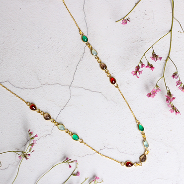 Delicate garnet, green onyx & smoky quartz necklace