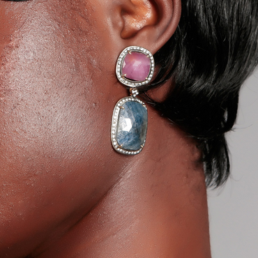 Sapphire and crystal heirloom earrings