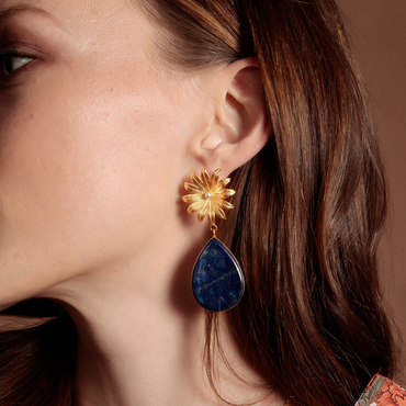 Marigold earrings - lapis & gold vermeil