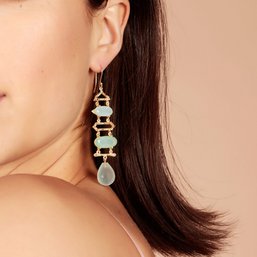 Ethereal aqua chalcedony and tourmaline layered earrings