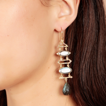 Ethereal labradorite and tourmaline layered earrings