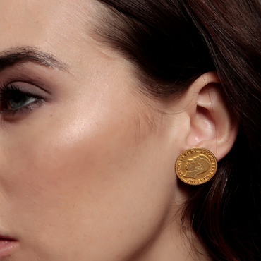 Mismatched monarchs gold coin studs