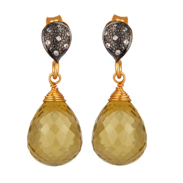 Crystal and lemon topaz drop earrings