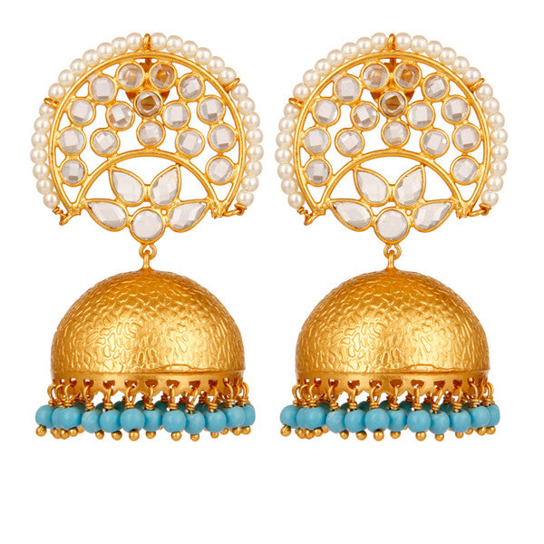 Crystal and turquoise chandelier statement earrings